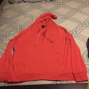 Moda International L coral slight zip hoodie